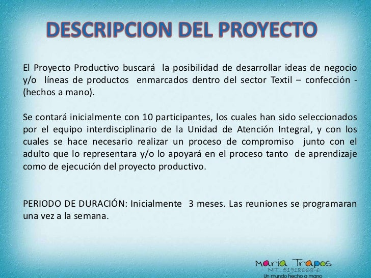 Proyecto Productivo Maria Trapos