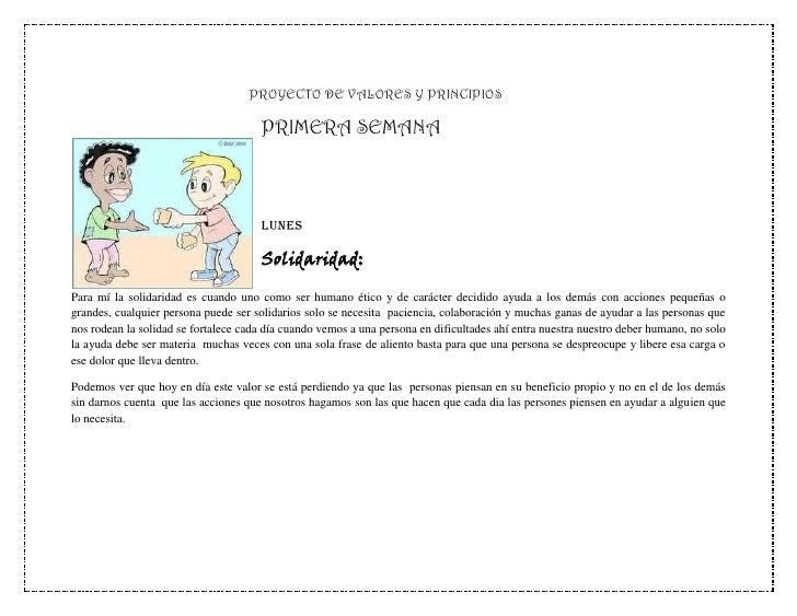 PROYECTO DE VALORES Y PRINCIPIOS                                      PRIMERA SEMANA                                      ...