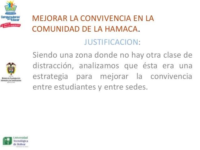 MEJORAR LA CONVIVENCIA EN LACOMUNIDAD DE LA HAMACA.              JUSTIFICACION:Siendo una zona donde no hay otra clase ded...