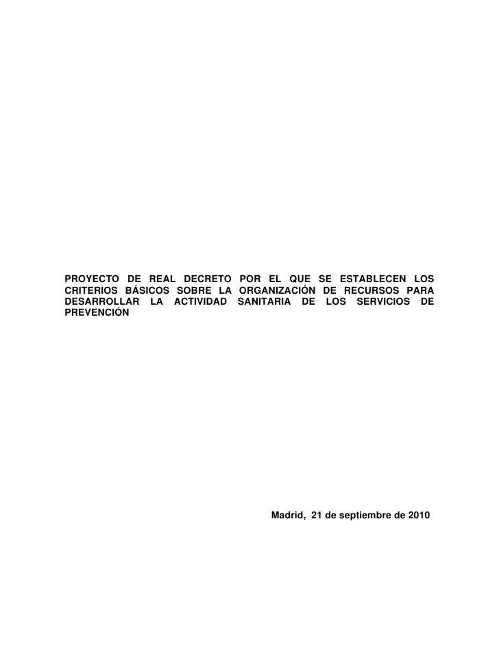 PROYECTO DE REAL DECRETO POR EL QUE SE ESTABLECEN LOS CRITERIOS BÁSICOS SOBRE LA ORGANIZACIÓN DE RECURSOS PARA DESARROLLAR...