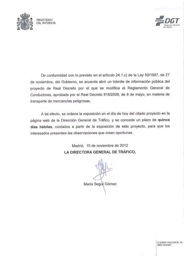 REAL DECRETO XXX/2012, DE … DE … , POR EL QUE SE MODIFICA ELREGLAMENTO GENERAL DE CONDUCTORES, APROBADO POR EL REALDECRETO...