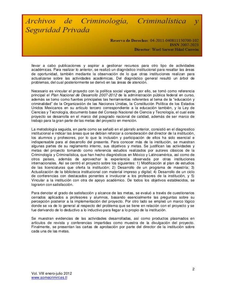 Proyecto reforma a las escuelas de criminología Slide 2