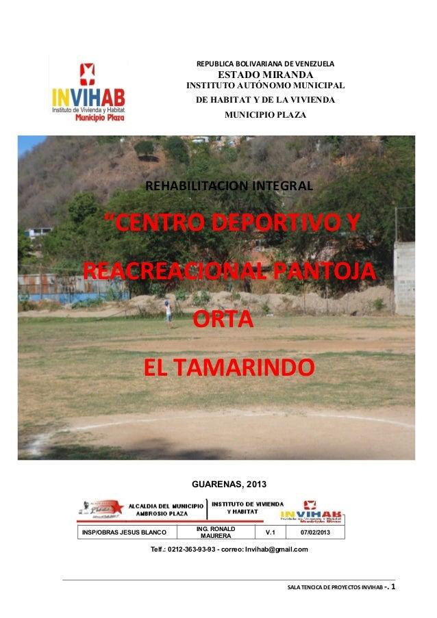 REPUBLICA BOLIVARIANA DE VENEZUELAESTADO MIRANDAINSTITUTO AUTÓNOMO MUNICIPALDE HABITAT Y DE LA VIVIENDAMUNICIPIO PLAZAREHA...