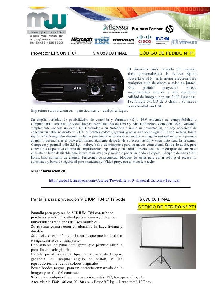 Proyector EPSON s10+                     $ 4.089,00 FINAL               CÓDIGO DE PEDIDO Nº P1                            ...