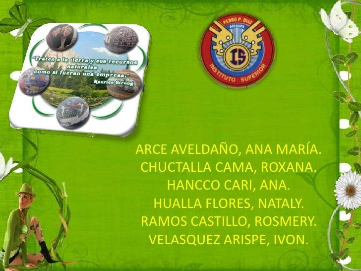 ARCE AVELDAÑO, ANA MARÍA. CHUCTALLA CAMA, ROXANA.    HANCCO CARI, ANA.   HUALLA FLORES, NATALY. RAMOS CASTILLO, ROSMERY.  ...