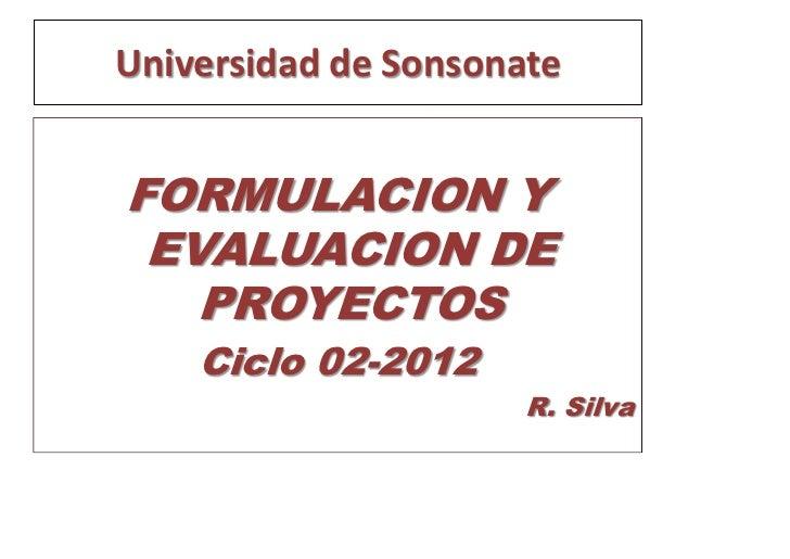 Universidad de SonsonateFORMULACION Y EVALUACION DE   PROYECTOS    Ciclo 02-2012                      R. Silva