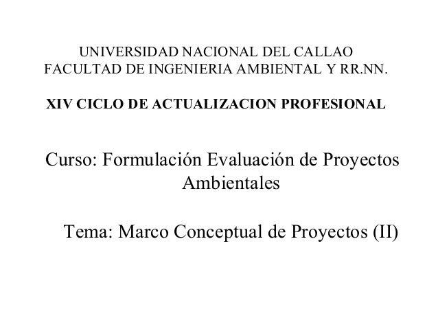 UNIVERSIDAD NACIONAL DEL CALLAOFACULTAD DE INGENIERIA AMBIENTAL Y RR.NN.XIV CICLO DE ACTUALIZACION PROFESIONALCurso: Formu...