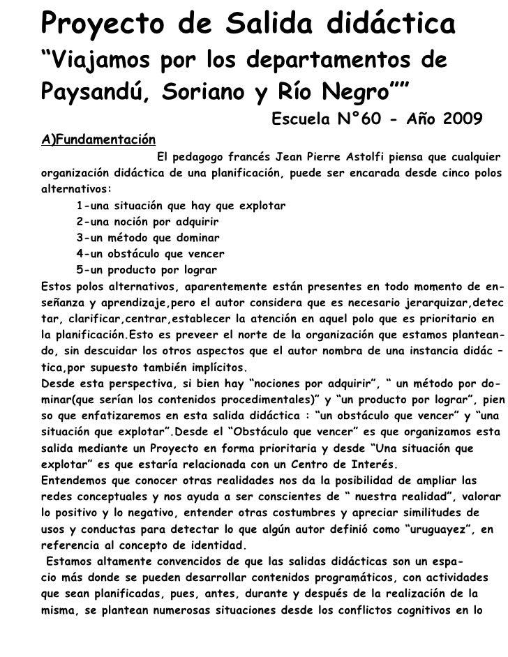 """Proyecto de Salida didáctica """"Viajamos por los departamentos de Paysandú, Soriano y Río Negro""""""""                           ..."""