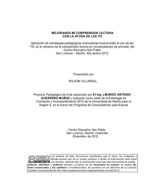 MEJORANDO MI COMPRENSION LECTORA                         CON LA AYUDA DE LAS TIC Aplicación de estrategias pedagógicas inn...