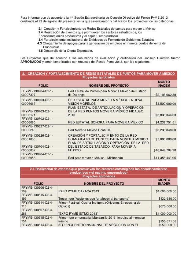 Para informar que de acuerdo a la 4ª Sesión Extraordinaria de Consejo Directivo del Fondo PyME 2013, celebrada el 23 de ag...