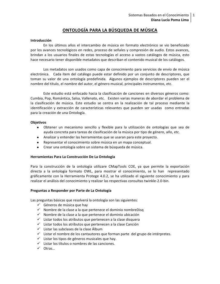 Sistemas Basados en el Conocimiento 1                                                                         Diana Lucía ...
