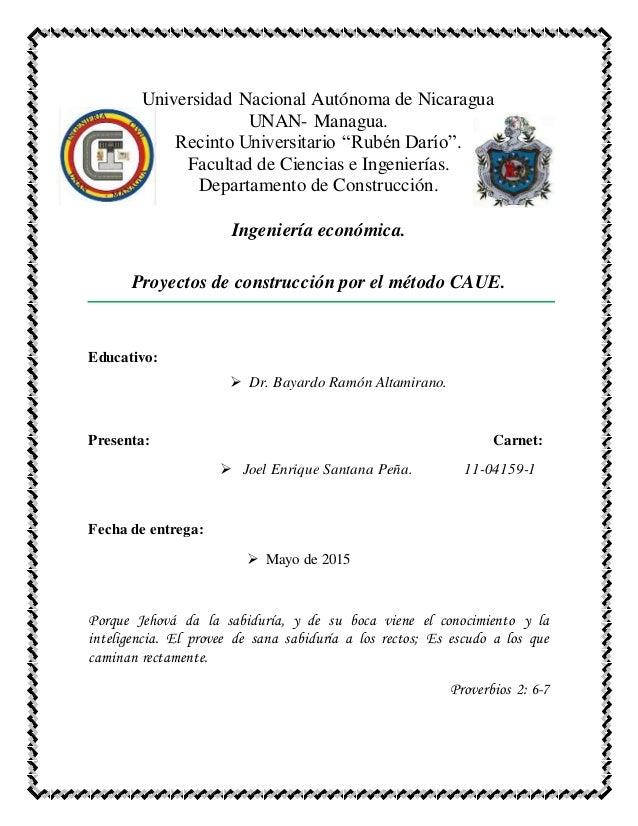 """Universidad Nacional Autónoma de Nicaragua UNAN- Managua. Recinto Universitario """"Rubén Darío"""". Facultad de Ciencias e Inge..."""