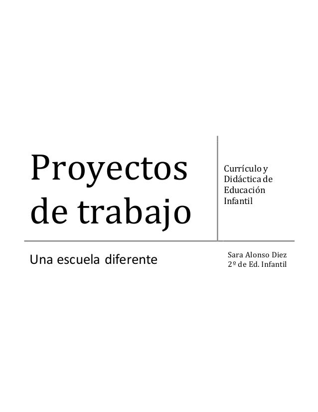 Proyectos de trabajo Currículo y Didáctica de Educación Infantil Una escuela diferente Sara Alonso Diez 2º de Ed. Infantil