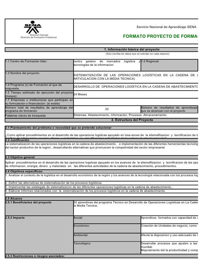 Servicio Nacional de Aprendizaje SENA                      Dirección General            Dirección de Formación Profesional...