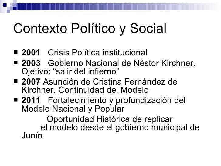 Contexto Político y Social <ul><li>2001   Crisis Política institucional </li></ul><ul><li>2003   Gobierno Nacional de Nést...