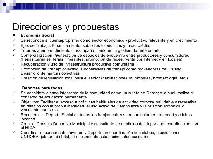 Direcciones y propuestas <ul><li>Economía Social </li></ul><ul><li>Se reconoce al cuentapropismo como sector económico - p...