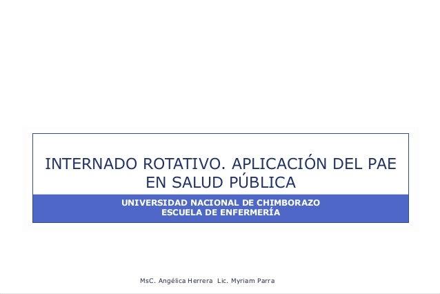 INTERNADO ROTATIVO. APLICACIÓN DEL PAE          EN SALUD PÚBLICA        UNIVERSIDAD NACIONAL DE CHIMBORAZO               E...