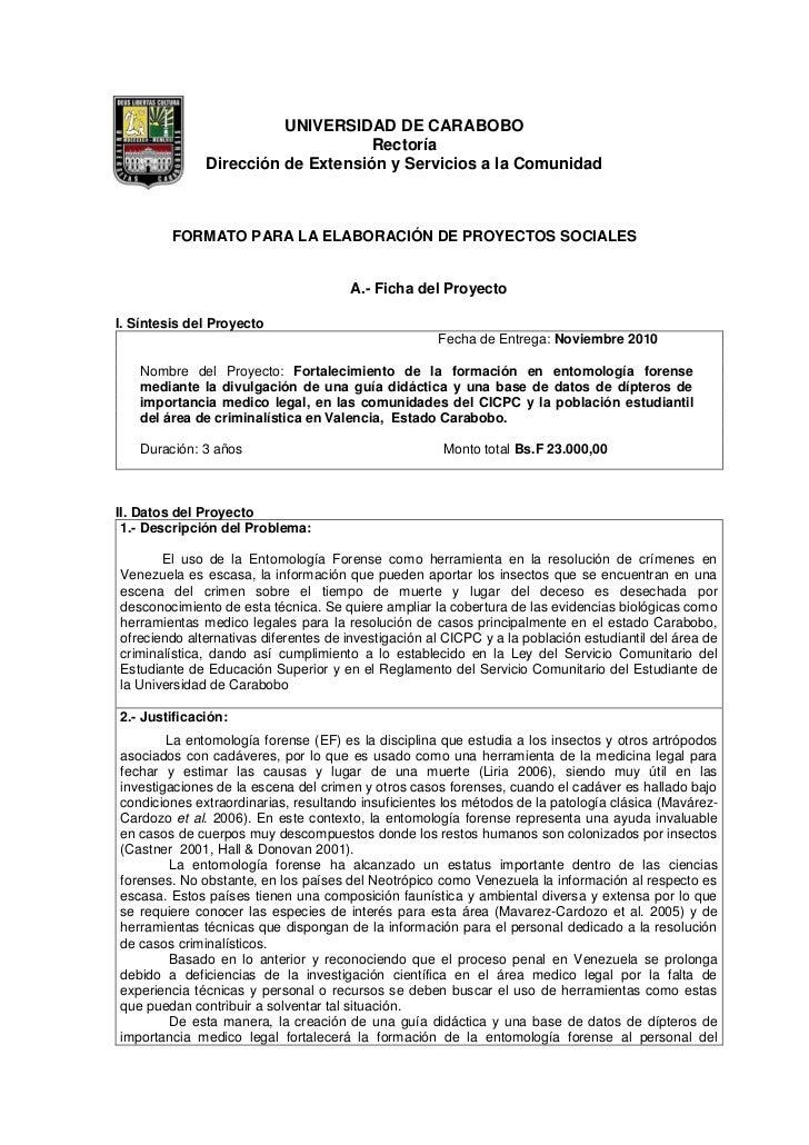 UNIVERSIDAD DE CARABOBO                                   Rectoría              Dirección de Extensión y Servicios a la Co...