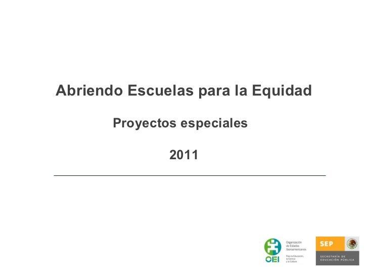 Abriendo Escuelas para la Equidad Proyectos especiales  2011