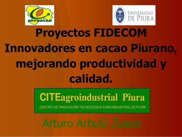 Proyectos FIDECOMInnovadores en cacao Piurano,  mejorando productividad y          calidad.     CITEagroindustrial Piura  ...