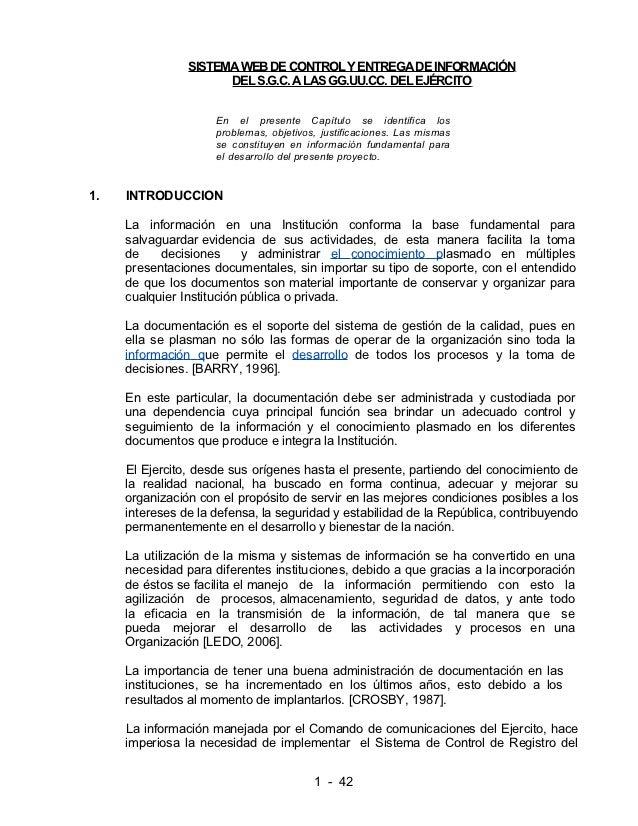 SISTEMA WEB DE CONTROL Y ENTREGA DE INFORMACIÓN                      DEL S.G.C. A LAS GG.UU.CC. DEL EJÉRCITO              ...