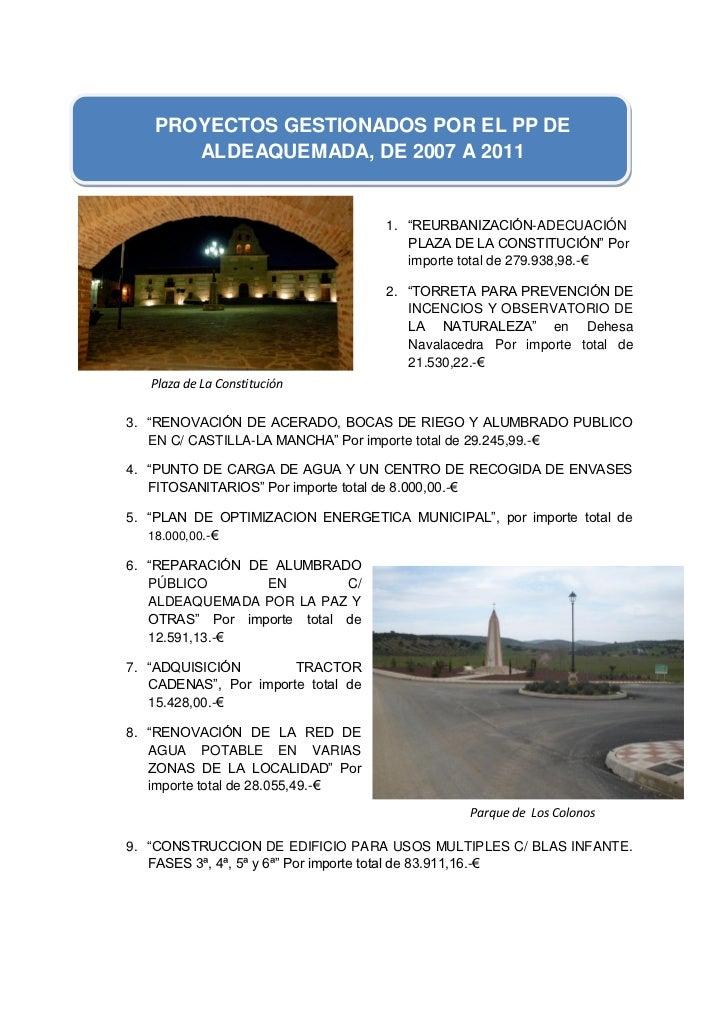 """PROYECTOS GESTIONADOS POR EL PP DE        ALDEAQUEMADA, DE 2007 A 2011                                    1. """"REURBANIZACI..."""