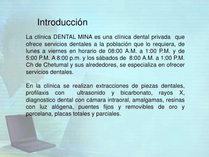 IntroducciónLa clínica DENTAL MINA es una clínica dental privada queofrece servicios dentales a la población que lo requie...