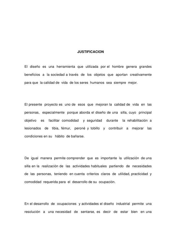Proyecto de investigacion silla pdf for Objetos para banarse