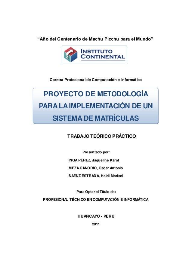 """""""Año del Centenario de Machu Picchu para el Mundo"""" Carrera Profesional de Computación e Informática TRABAJO TEÓRICO PRÁCTI..."""
