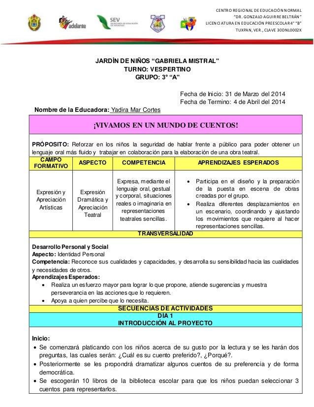 """CENTRO REGIONAL DE EDUCACIÓN NORMAL """"DR. GONZALO AGUIRREBELTRÁN"""" LICENCIATURA EN EDUCACIÓN PREESCOLAR4° """"B"""" TUXPAN, VER., ..."""