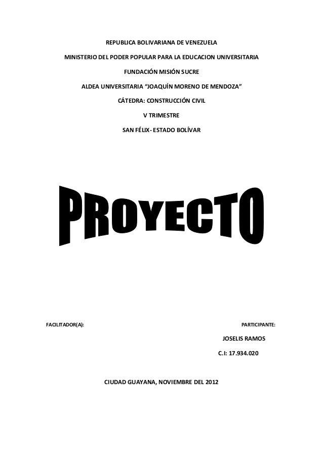 REPUBLICA BOLIVARIANA DE VENEZUELAMINISTERIO DEL PODER POPULAR PARA LA EDUCACION UNIVERSITARIAFUNDACIÓN MISIÓN SUCREALDEA ...