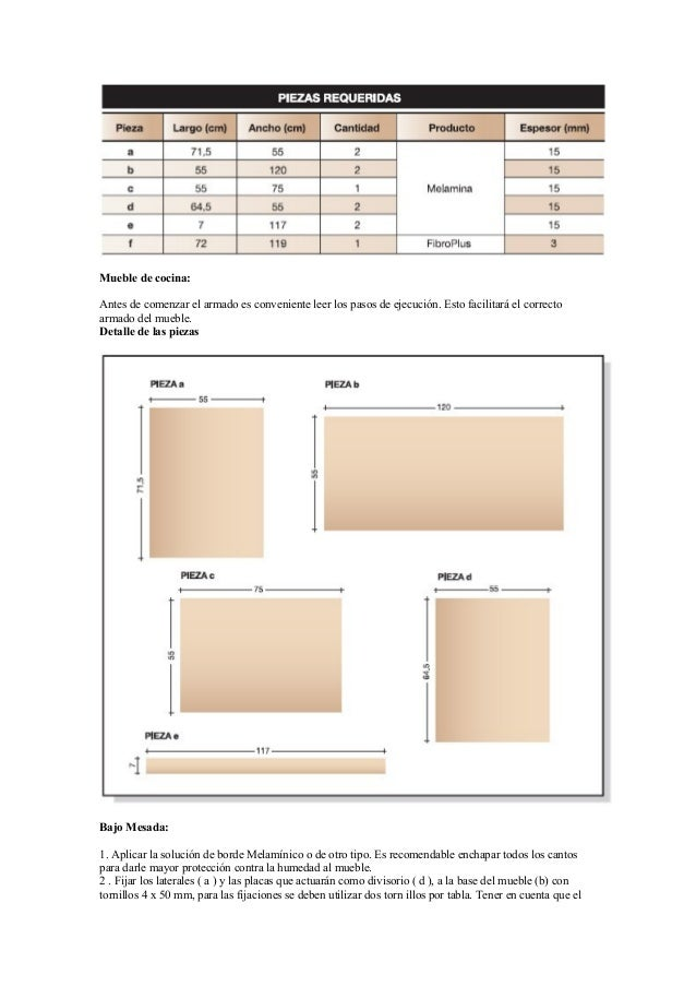 Proyectos para fabricar muebles con melamina for Planos de muebles de cocina pdf