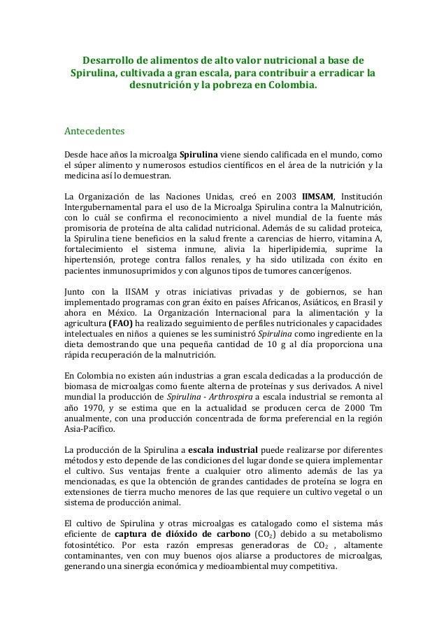 Desarrollo  de  alimentos  de  alto  valor  nutricional  a  base  de     Spirulina,  cultivada  ...