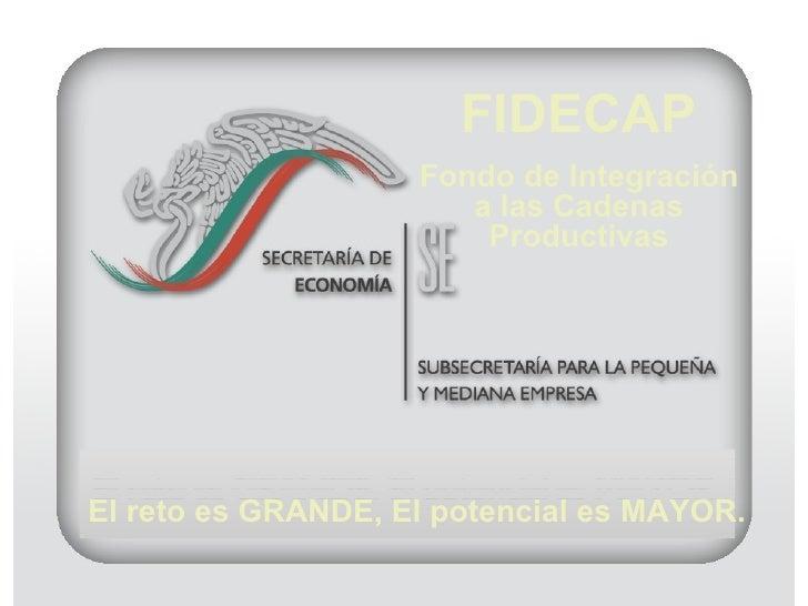 El reto es GRANDE, El potencial es MAYOR. FIDECAP Fondo de Integración a las Cadenas Productivas