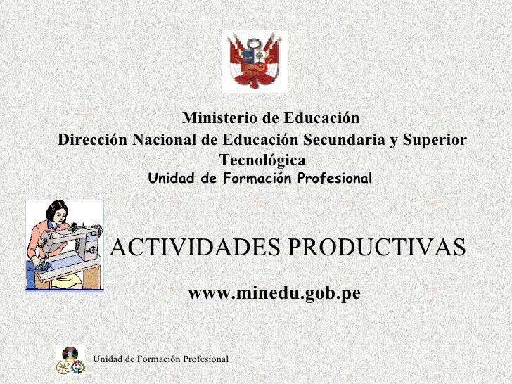 ACTIVIDADES PRODUCTIVAS      Ministerio de Educación Dirección Nacional de Educación Secundaria y Superior Tecnológica Uni...