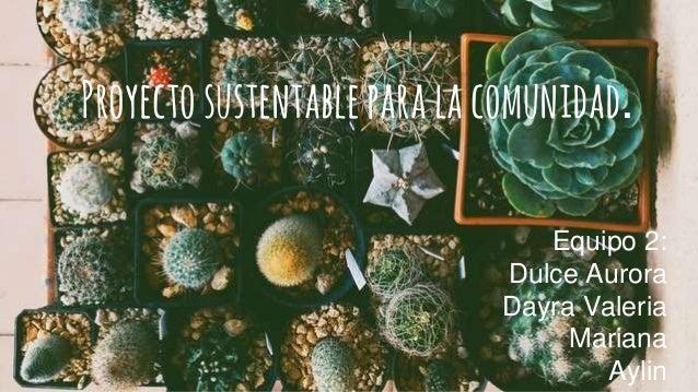 Proyectosustentableparalacomunidad. Equipo 2: Dulce Aurora Dayra Valeria Mariana Aylin