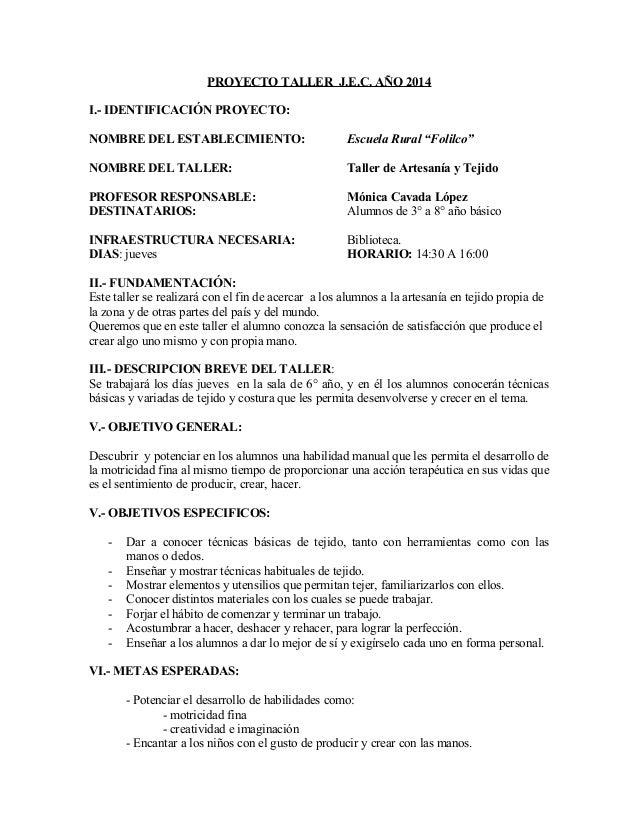 Proyecto Taller Artesania En Tejido