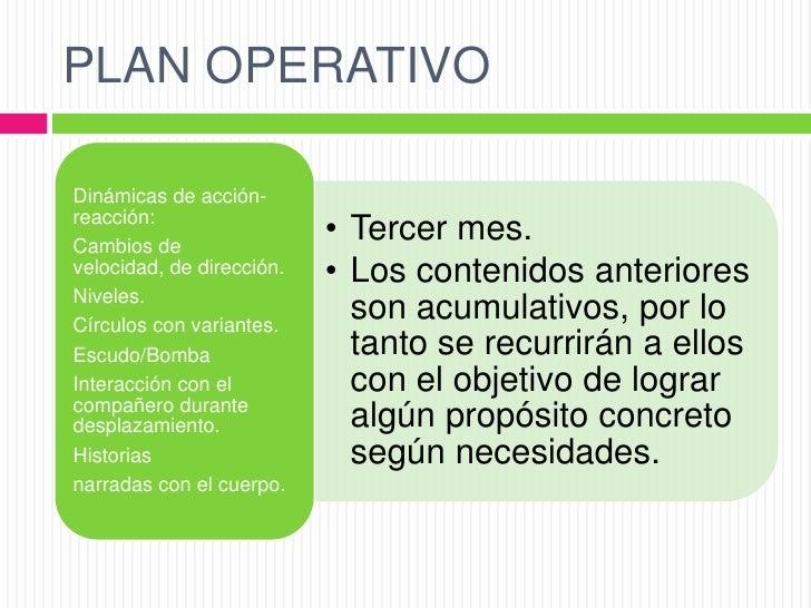 PLAN OPERATIVODinámicas de acción-reacción:Cambios de                           • Tercer mes.velocidad, de dirección.   • ...