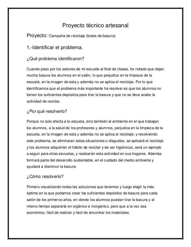Proyecto t cnico artesanal for Proyecto tecnico ejemplos