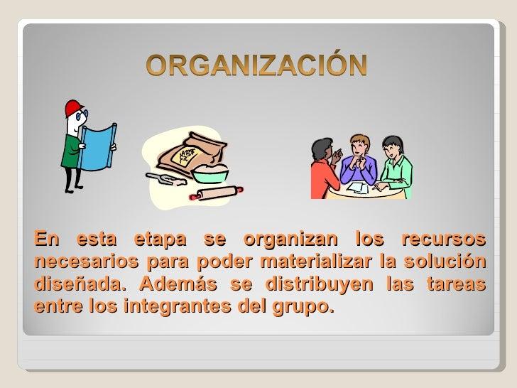 En esta etapa se organizan los recursos necesarios para poder materializar la solución diseñada. Además se distribuyen las...
