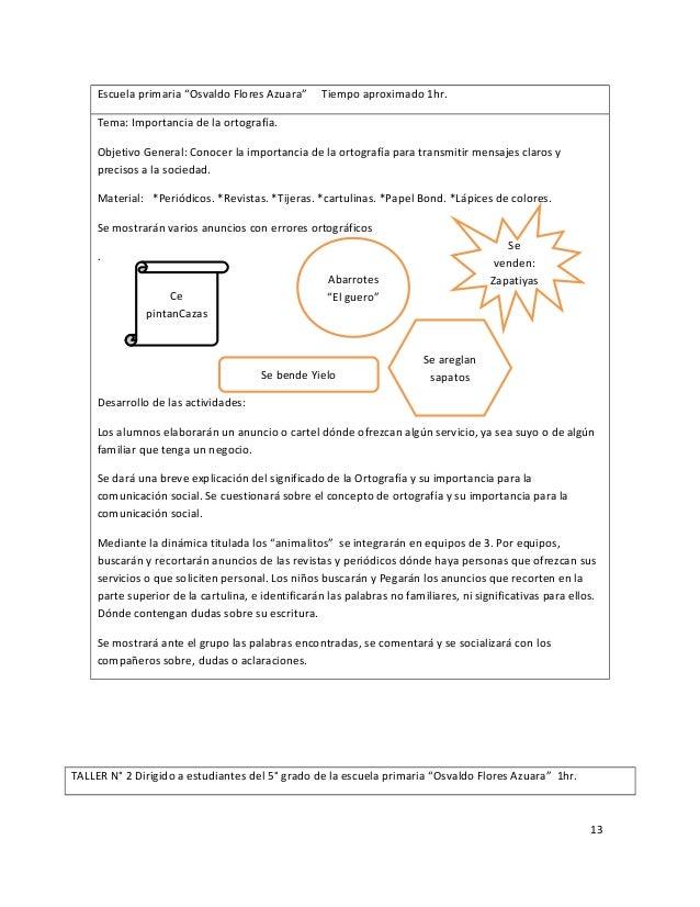 Proyecto Ortografia en alumnos de 5! Grado