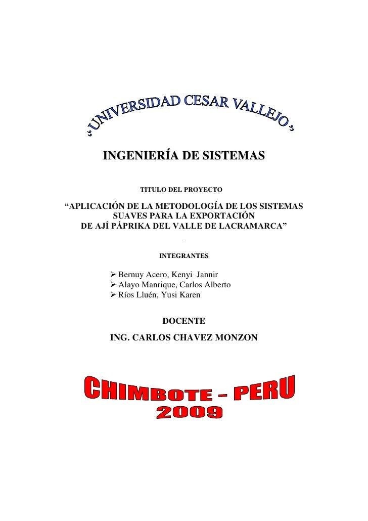 """INGENIERÍA DE SISTEMAS<br />titulo del Proyecto<br />""""APLICACIÓN DE LA METODOLOGÍA DE LOS SISTEMAS SUAVES PARA LA EXPORTAC..."""