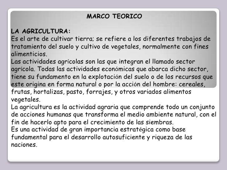 MARCO TEORICO<br />LA AGRICULTURA:<br />Es el arte de cultivar tierra; se refiere a los diferentes trabajos de tratamiento...