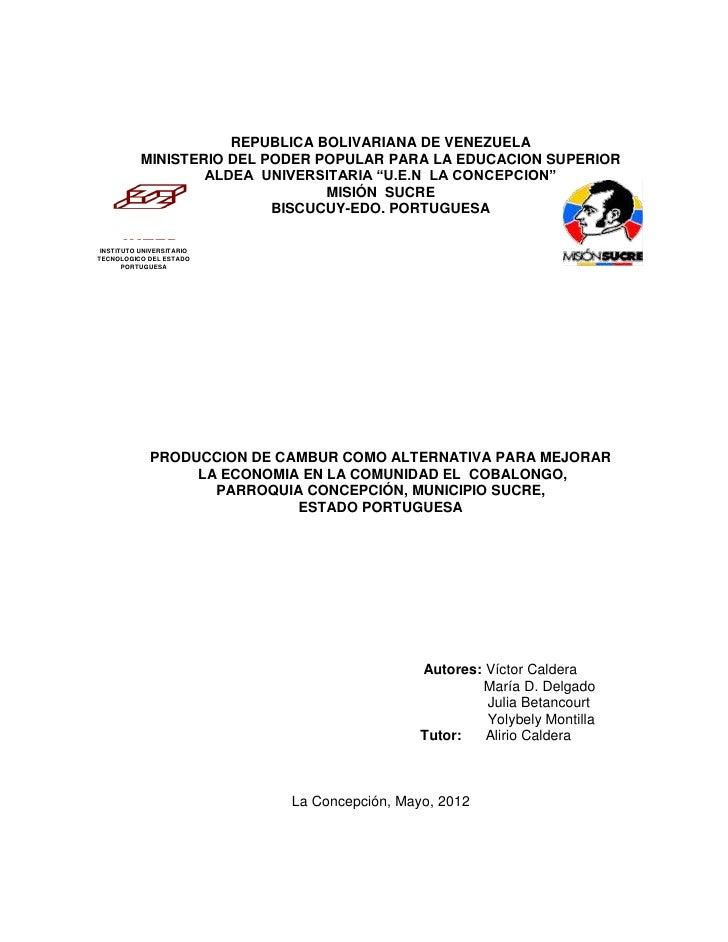 REPUBLICA BOLIVARIANA DE VENEZUELA           MINISTERIO DEL PODER POPULAR PARA LA EDUCACION SUPERIOR                   ALD...