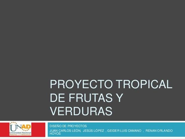 PROYECTO TROPICALDE FRUTAS YVERDURASDISEÑO DE PROYECTOSJUAN CARLOS LEÓN, JESÚS LÓPEZ , GEIDER LUIS CAMANO , RENAN ORLANDOH...