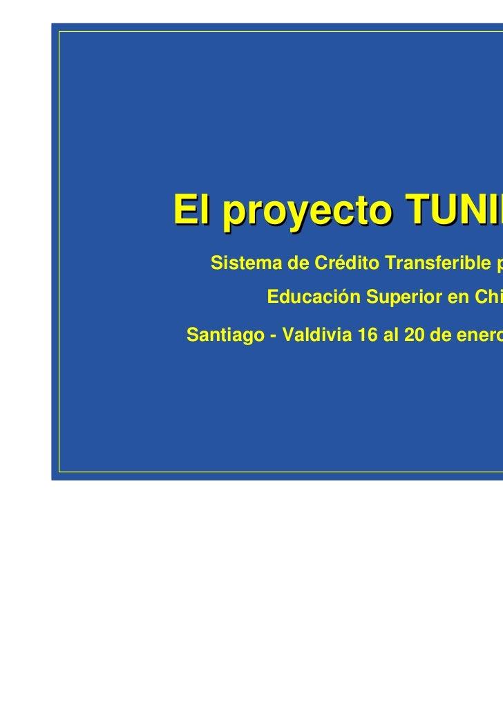 El proyecto TUNING  Sistema de Crédito Transferible para la         Educación Superior en ChileSantiago - Valdivia 16 al 2...