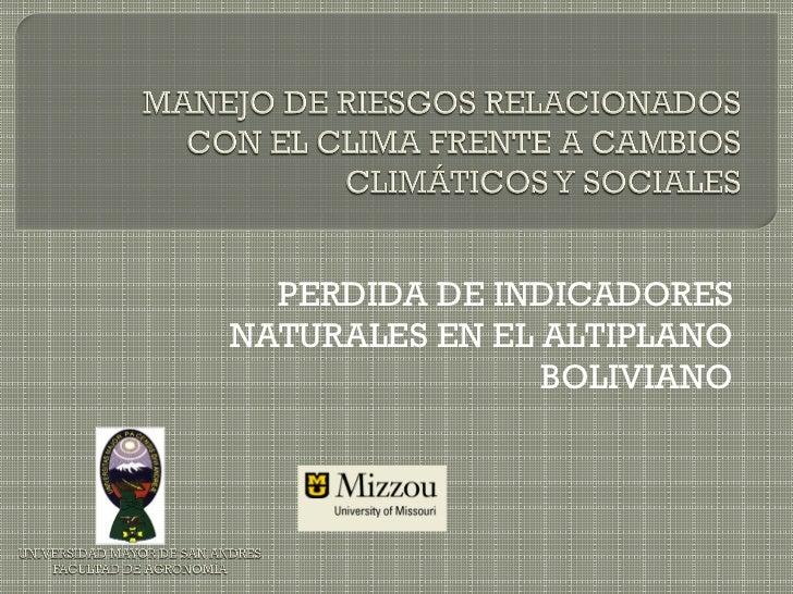 PERDIDA DE INDICADORESNATURALES EN EL ALTIPLANO                BOLIVIANO