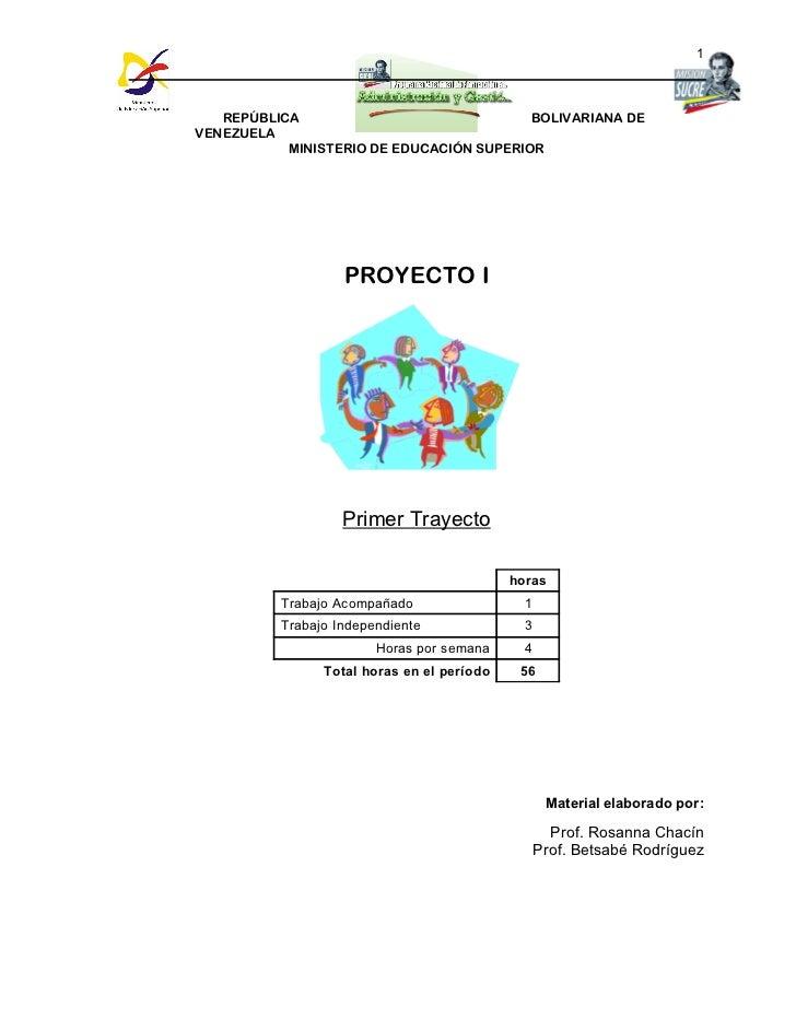 1   REPÚBLICA                              BOLIVARIANA DEVENEZUELA           MINISTERIO DE EDUCACIÓN SUPERIOR             ...