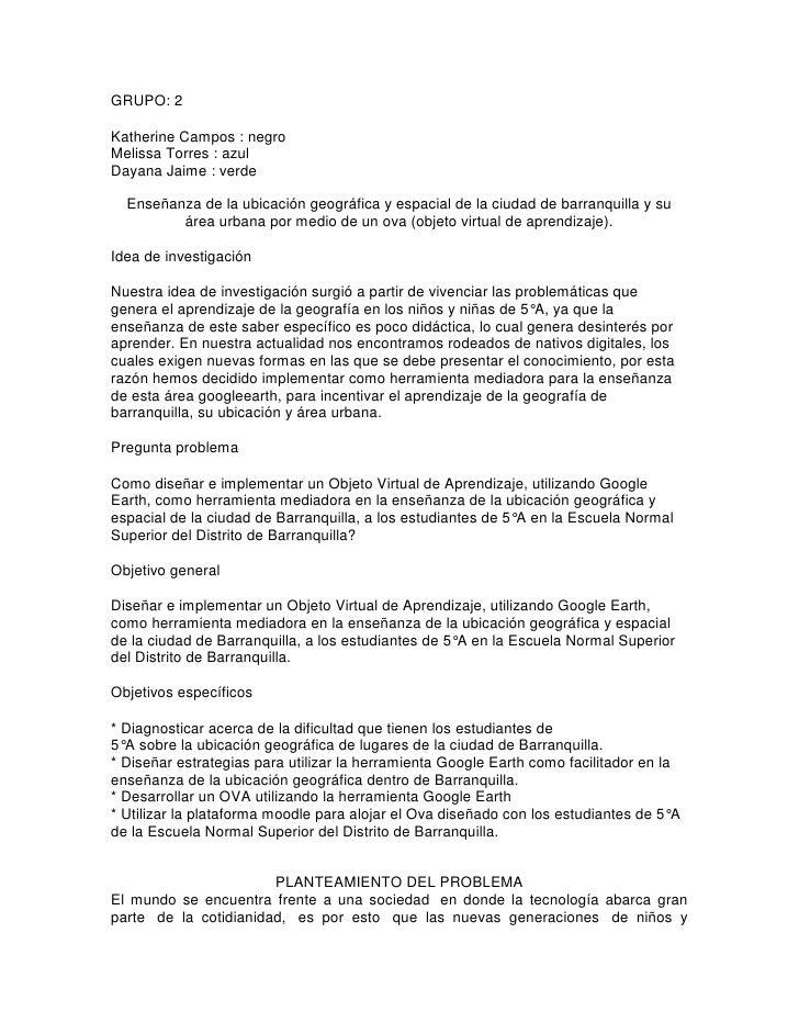 GRUPO: 2Katherine Campos : negroMelissa Torres : azulDayana Jaime : verde  Enseñanza de la ubicación geográfica y espacial...