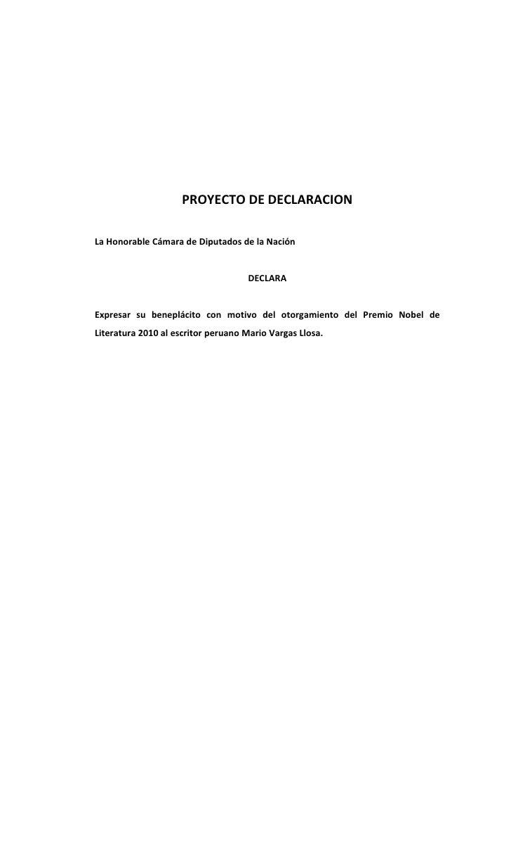 PROYECTO DE DECLARACION  La Honorable Cámara de Diputados de la Nación                                       DECLARA   Exp...
